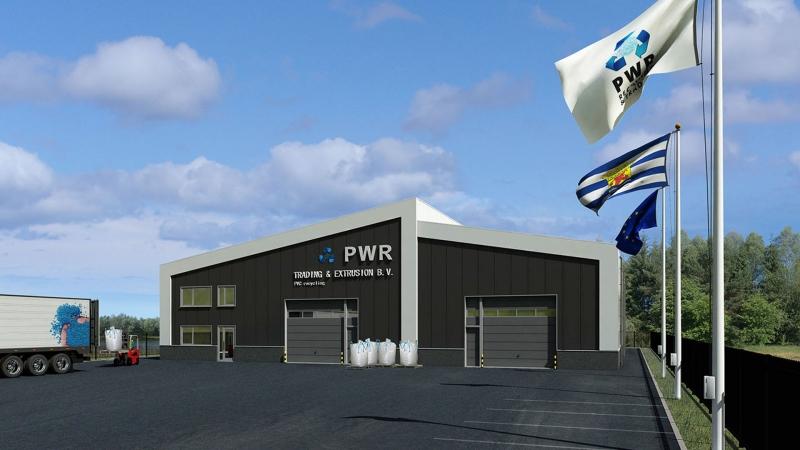 3D impressie bedrijfsgebouw PWR Trading