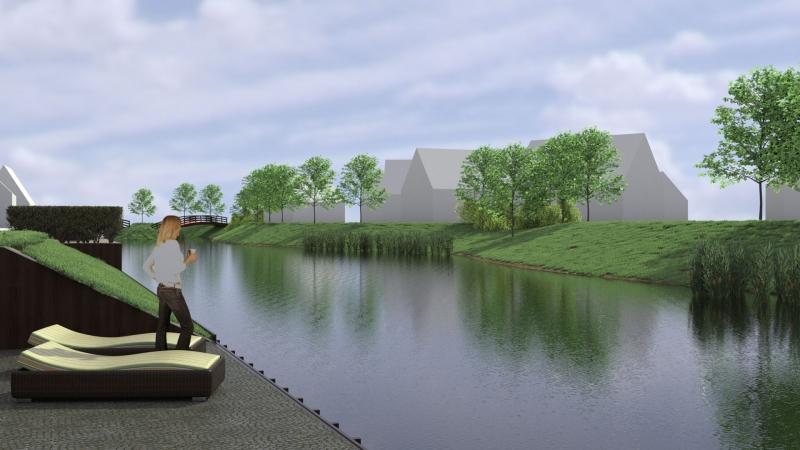 3D impressie waterpartij tussen Brakenburg en Hazenburg 2 te Arnemuiden