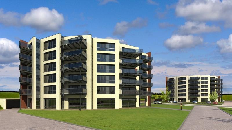 3D impressie nieuwe gevel appartementencomplexen Bavel