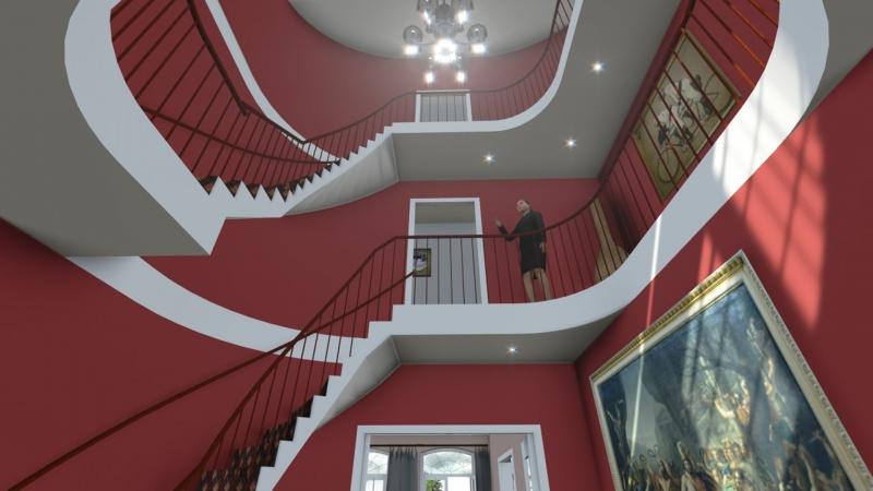 3D impressie hoofdentree villa
