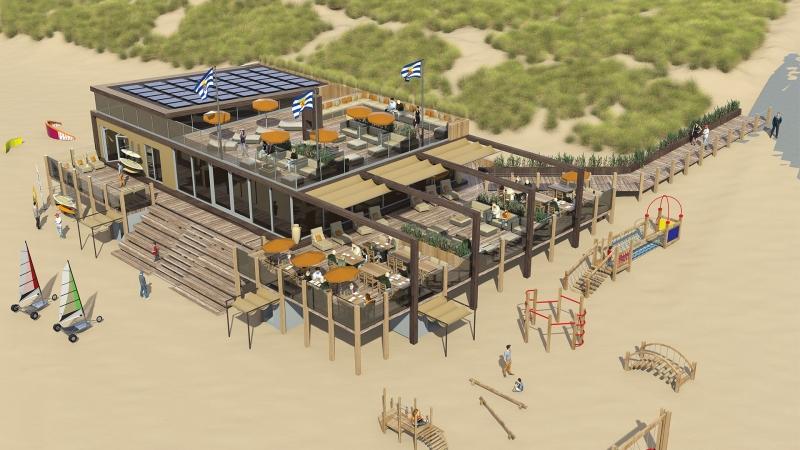 3D impressie van strandpaviljoen De Dam