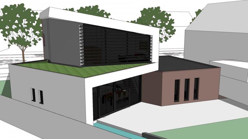 3D impressie moderne energieneutrale villa