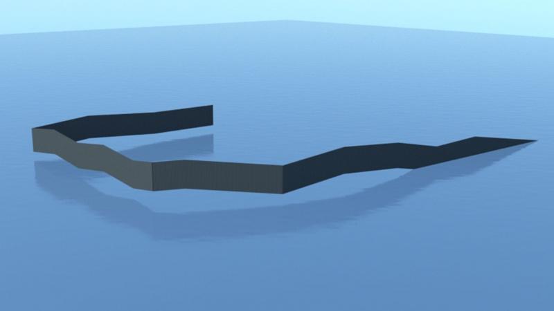 3D impressie concept golvende band