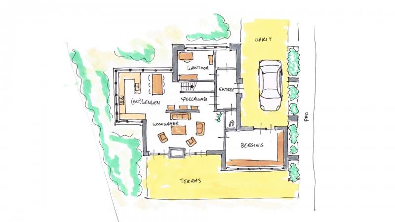 Plattegrond beganegrond villa Ridderkerk