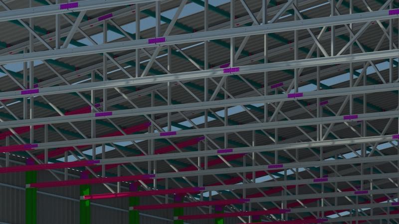 3D tekening dakconstructie hoog detailniveau
