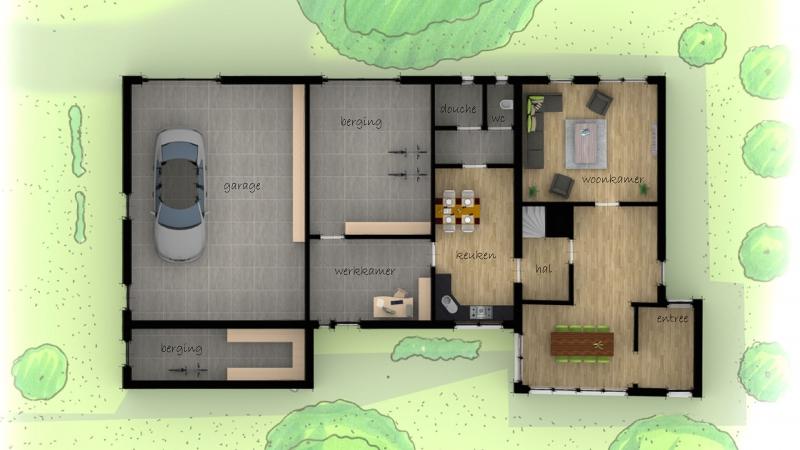 Plattegrond in proso stijl vrijstaande woning
